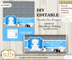 DIY Personalizable Boy Arctic Chocolate Bar Candy Wrapper Label for Boy  baby shower, birthday Blue Silver , editable wrappers