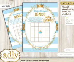 Printable blue gold Carriage Bingo Game Printable Card for Baby Prince Shower DIY grey, blue gold, Royal
