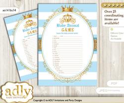 Printable Prince Carriage Baby Animal Game, Guess Names of Baby Animals Printable for Baby Carriage Shower, blue gold, Royal