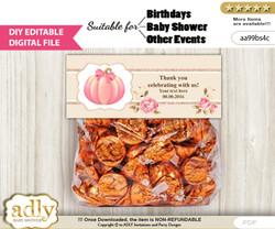 DIY Text Editable Girl Pumpkin Goodie  Treat Bag Toppers, Favor Bag Digital File, print at home  cv