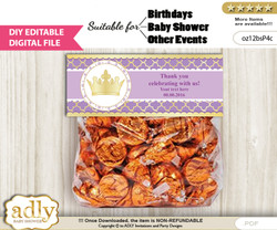 DIY Text Editable Purple Princess Goodie  Treat Bag Toppers, Favor Bag Digital File, print at home