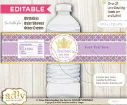 DIY Text Editable Purple Princess Water Bottle Label, Personalizable Wrapper Digital File, print at home for any event