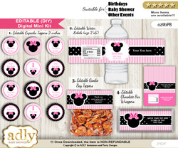 DIY Text Editable Girl Minnie Baby Shower, Birthday digital package, kit-cupcake, goodie bag toppers, water labels, chocolate bar wrappers