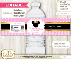 DIY Text Editable Minnie Mouse Water Bottle Label, Personalizable Wrapper Digital File, print at home for any event