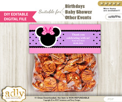 DIY Text Editable Girl Minnie Goodie  Treat Bag Toppers, Favor Bag Digital File, print at home  v