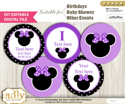 DIY Text Editable Minnie Mouse Cupcake Toppers Digital File, print at home, suitable for birthday, baby shower, baptism b