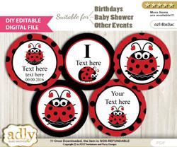 DIY Text Editable Girl Ladybug Cupcake Toppers Digital File, print at home, suitable for birthday, baby shower, baptism