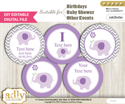 DIY Text Editable Girl Elephant Cupcake Toppers Digital File, print at home, suitable for birthday, baby shower, baptism b