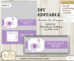 DIY Personalizable Girl Elephant Chocolate Bar Candy Wrapper Label for Girl  baby shower, birthday Purple Grey , editable wrappers n