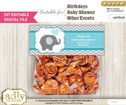 DIY Text Editable Boy Elephant Goodie  Treat Bag Toppers, Favor Bag Digital File, print at home  b