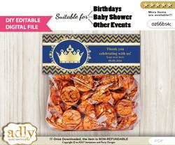 DIY Text Editable Crown Prince Goodie  Treat Bag Toppers, Favor Bag Digital File, print at home  v