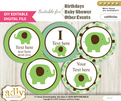 DIY Text Editable Boy Peanut Cupcake Toppers Digital File, print at home, suitable for birthday, baby shower, baptism