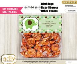 DIY Text Editable Boy Peanut Goodie  Treat Bag Toppers, Favor Bag Digital File, print at home