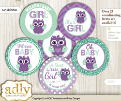 Baby Shower Girl Owl  Cupcake Toppers Printable File for Little Girl and Mommy-to-be, favor tags, circle toppers, Mint, Purple Green