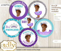 Baby Shower African Princess Cupcake Toppers Printable File for Little African and Mommy-to-be, favor tags, circle toppers, Silver, Purple Teal n
