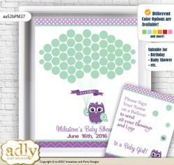 Girl Owl  Guest Book Alternative for a Baby Shower, Creative Nursery Wall Art Gift, Purple Green, Mint