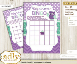 Printable Purple Green Owl  Bingo Game Printable Card for Baby Girl Shower DIY grey, Purple Green, Mint