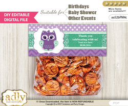 DIY Text Editable Girl Owl  Goodie  Treat Bag Toppers, Favor Bag Digital File, print at home