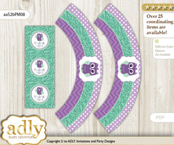 Printable Girl Owl  Cupcake, Muffins Wrappers plus Thank You tags for Baby Shower Purple Green, Mint