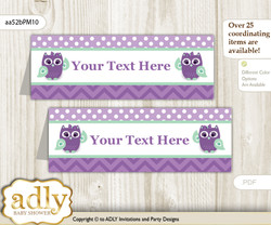 DIY Text Editable Printable Girl Owl  Buffet Tags or Food Tent Labels  for a Baby Shower or Birthday , Purple Green, Mint