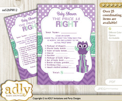 Printable Girl Owl  Price is Right Game Card for Baby Owl  Shower, Purple Green, Mint