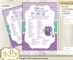 Girl Owl  What is in Mommy's Purse, Baby Shower Purse Game Printable Card , Purple Green,  Mint