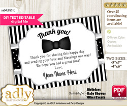 DIY Editable Boy Bow Tie Thank you Printable card, only text editable thank you for Baby Shower or Birthday Party