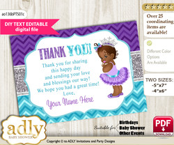 DIY Editable African Princess Thank you Printable card, only text editable thank you for Baby Shower or Birthday Party