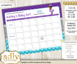DIY African Princess Baby Due Date Calendar, guess baby arrival date game  n