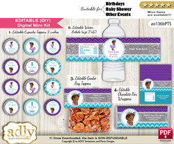 DIY Text Editable African Princess Baby Shower, Birthday digital package, kit-cupcake, goodie bag toppers, water labels, chocolate bar wrappers n