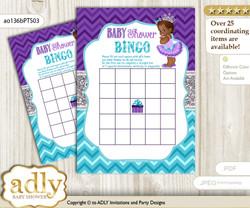 Printable Purple Teal Princess Bingo Game Printable Card for Baby African Shower DIY grey, Purple Teal, Silver
