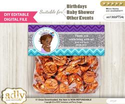 DIY Text Editable African Princess Goodie  Treat Bag Toppers, Favor Bag Digital File, print at home  n