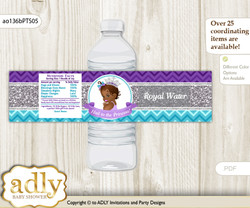 African Princess Water Bottle Wrappers, Labels for a Princess  Baby Shower, Purple Teal, Silver