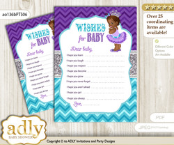 African Princess Wishes for a Baby, Well Wishes for a Little Princess Printable Card, Silver, Purple Teal