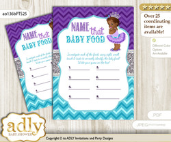 African Princess Guess Baby Food Game or Name That Baby Food Game for a Baby Shower, Purple Teal Silver