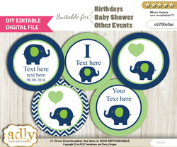 DIY Text Editable Boy Elephant Cupcake Toppers Digital File, print at home, suitable for birthday, baby shower, baptism b