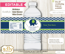 DIY Text Editable Boy Elephant Water Bottle Label, Personalizable Wrapper Digital File, print at home for any event   n