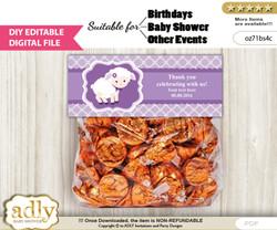 DIY Text Editable Girl Lamb Goodie  Treat Bag Toppers, Favor Bag Digital File, print at home  nv