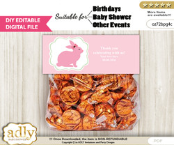 DIY Text Editable Girl Bunny Goodie  Treat Bag Toppers, Favor Bag Digital File, print at home