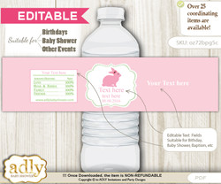 DIY Text Editable Girl Bunny Water Bottle Label, Personalizable Wrapper Digital File, print at home for any event