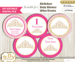 DIY Text Editable Crown Tiara Cupcake Toppers Digital File, print at home, suitable for birthday, baby shower, baptism