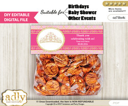 DIY Text Editable Crown Tiara Goodie  Treat Bag Toppers, Favor Bag Digital File, print at home