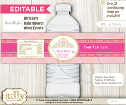 DIY Text Editable Crown Tiara Water Bottle Label, Personalizable Wrapper Digital File, print at home for any event