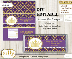 DIY Personalizable Dark Purple Princess Chocolate Bar Candy Wrapper Label for Dark Purple  baby shower, birthday Gold , editable wrappers