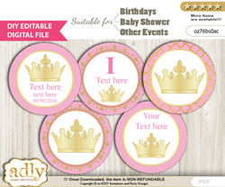 DIY Text Editable Pink Princess Cupcake Toppers Digital File, print at home, suitable for birthday, baby shower, baptism