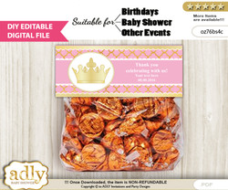 DIY Text Editable Pink Princess Goodie  Treat Bag Toppers, Favor Bag Digital File, print at home