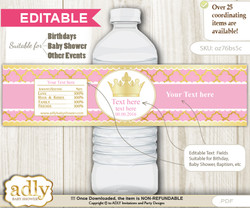 DIY Text Editable Pink Princess Water Bottle Label, Personalizable Wrapper Digital File, print at home for any event