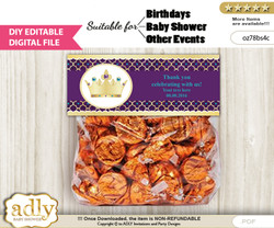 DIY Text Editable Royal Princess Goodie  Treat Bag Toppers, Favor Bag Digital File, print at home  nn