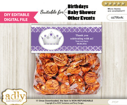 DIY Text Editable Royal Princess Goodie  Treat Bag Toppers, Favor Bag Digital File, print at home  nnn