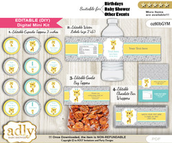 DIY Text Editable Baby Giraffe Baby Shower, Birthday digital package, kit-cupcake, goodie bag toppers, water labels, chocolate bar wrappers